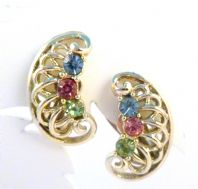 Vintage Pastel Rhinestone Detailed Clip On Earrings By Jewelcraft.